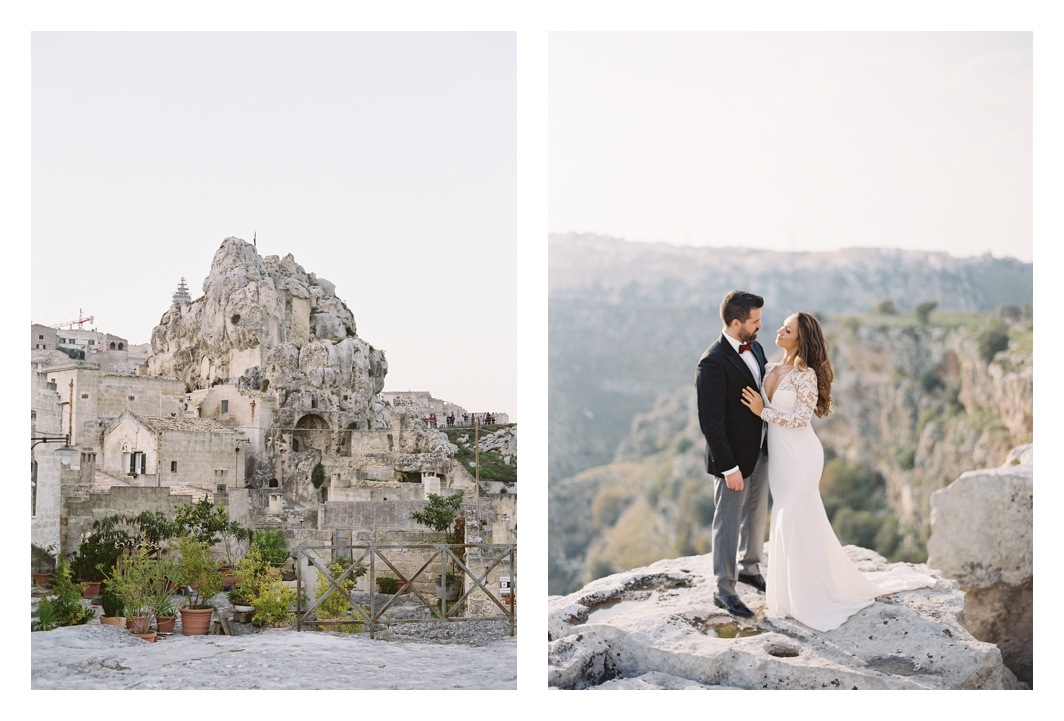 bride and groom portrait in Matera, Italy, Amsale wedding dress