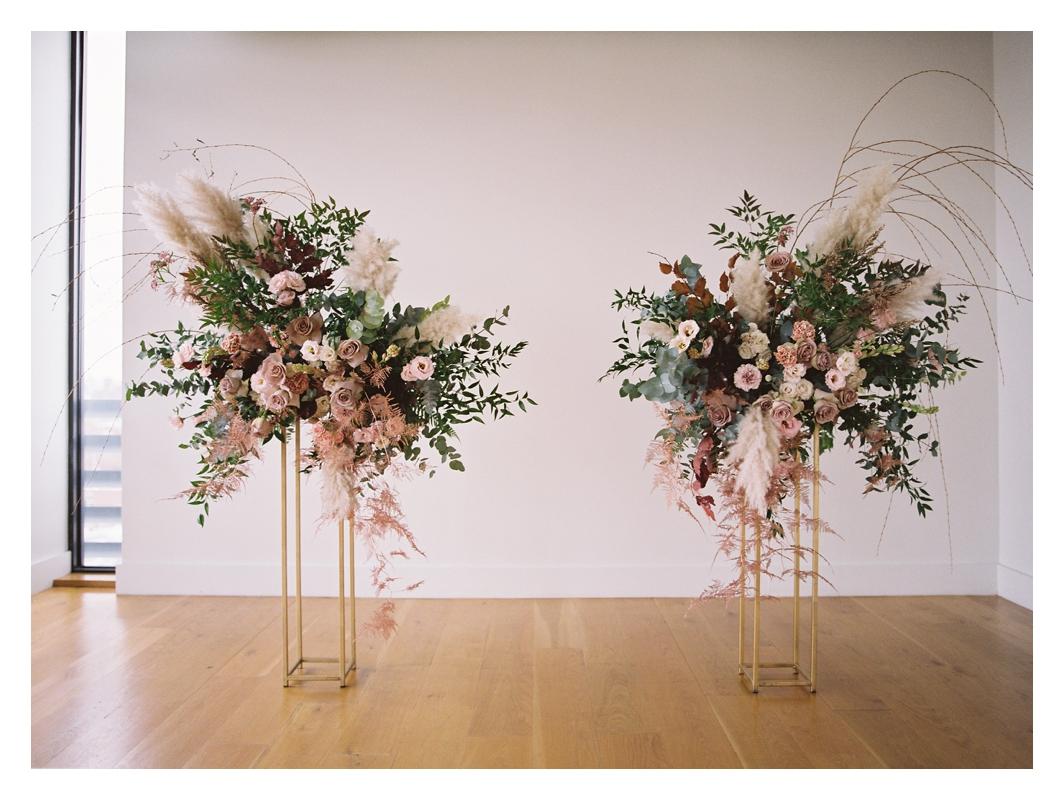 ceremony wedding flowers, pink centerpieces, wedding ceremony decor