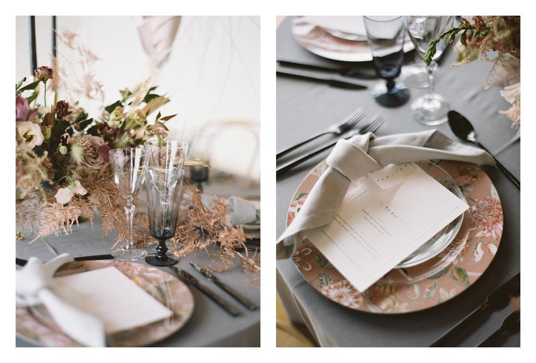wedding table details, wedding linens, grey napkins, wedding table decor