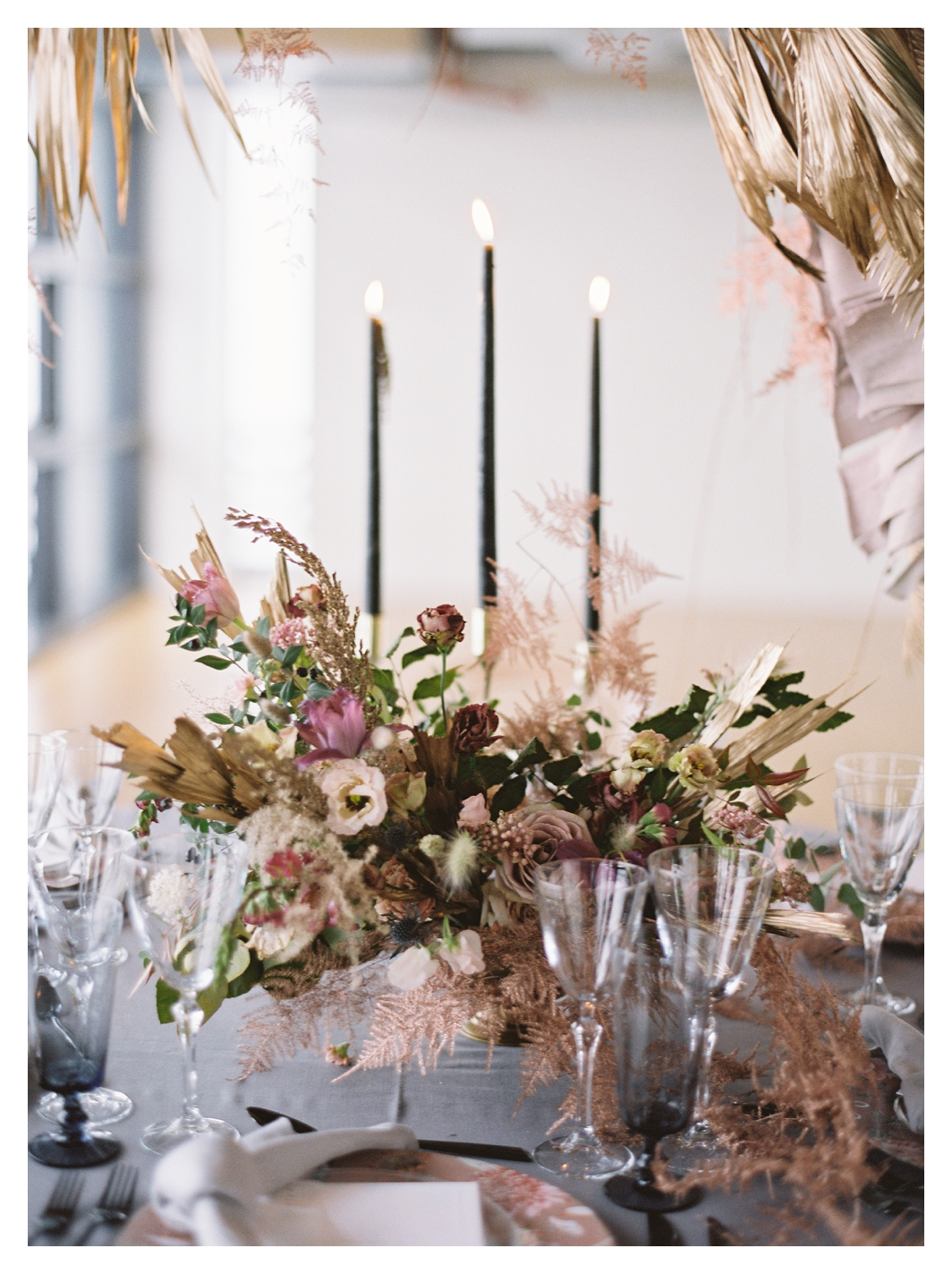 pink wedding flowers, winter wedding flowers, table setting, black taper candles