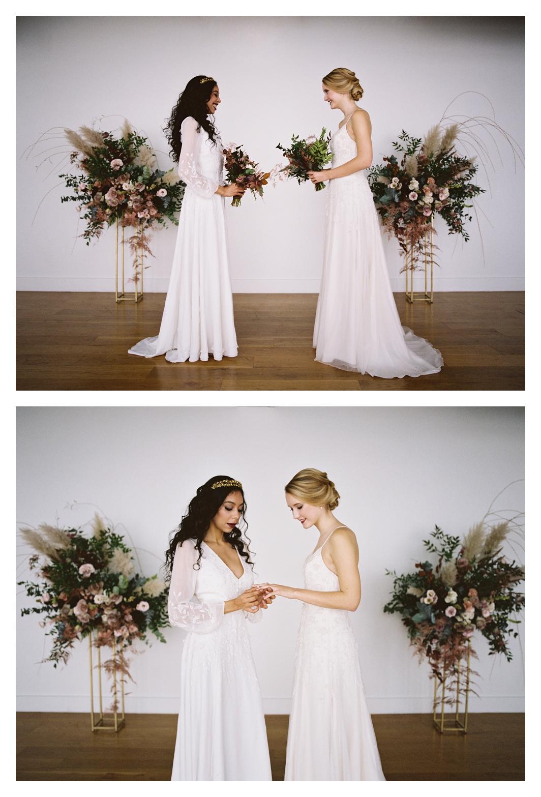 two brides, wedding ceremony, long sleeve wedding dress