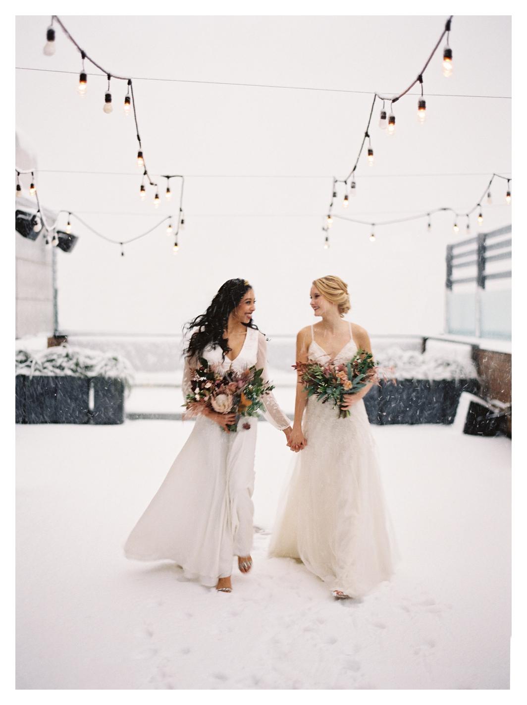 winter wedding, snow wedding, two brides