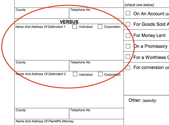 "Next, add the Defendant's full name and address under ""Name and Address of Defendant 1."" Include the defendant's phone number and county, if you know it, and check the appropriate box to indicate whether the Defendant is an individual or a corporation. If there are additional defendants, you'll need to also fill in the ""Name and Address of Defendant 2"" section."