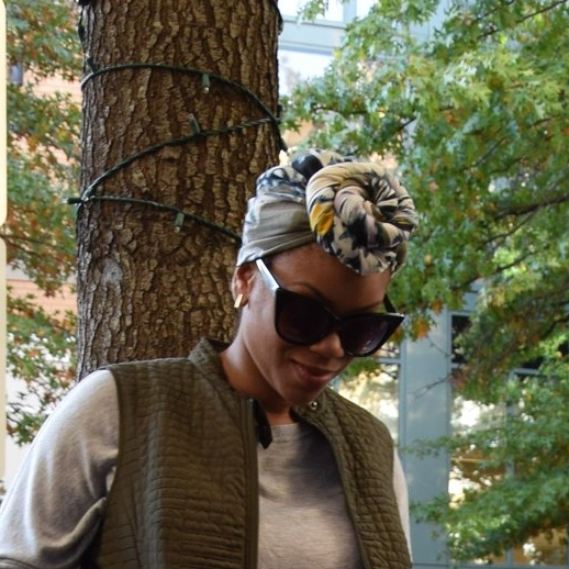 I took a patterned scarf and wrapped it around my head with a front knot to pull the look together.    These black frames from Express added some sophistication.
