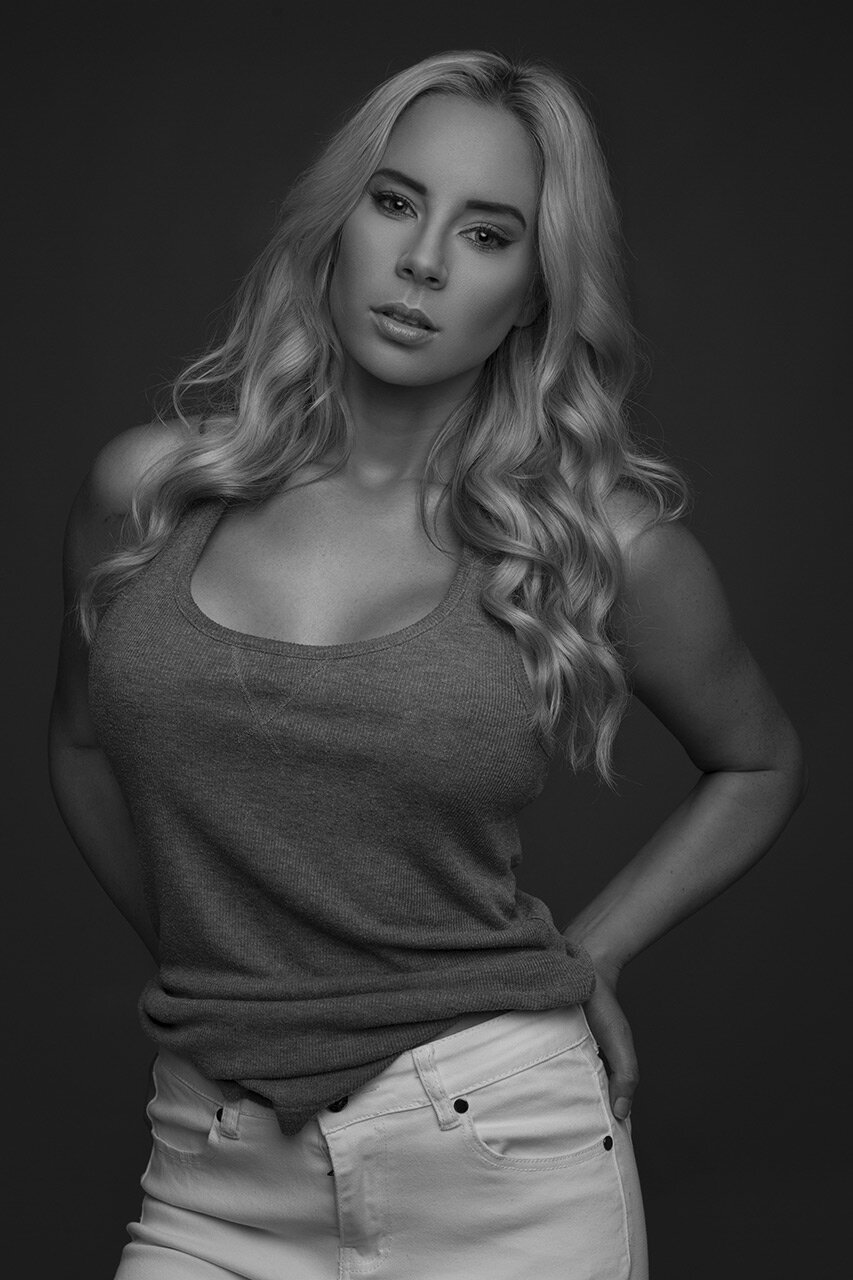 Black and white portrait of blonde woman