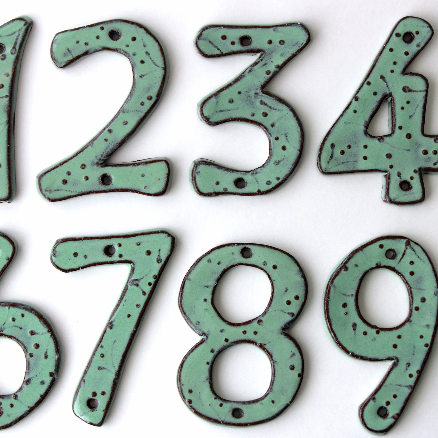 House Numbers Organic Style Aqua Mist Back Bay Pottery