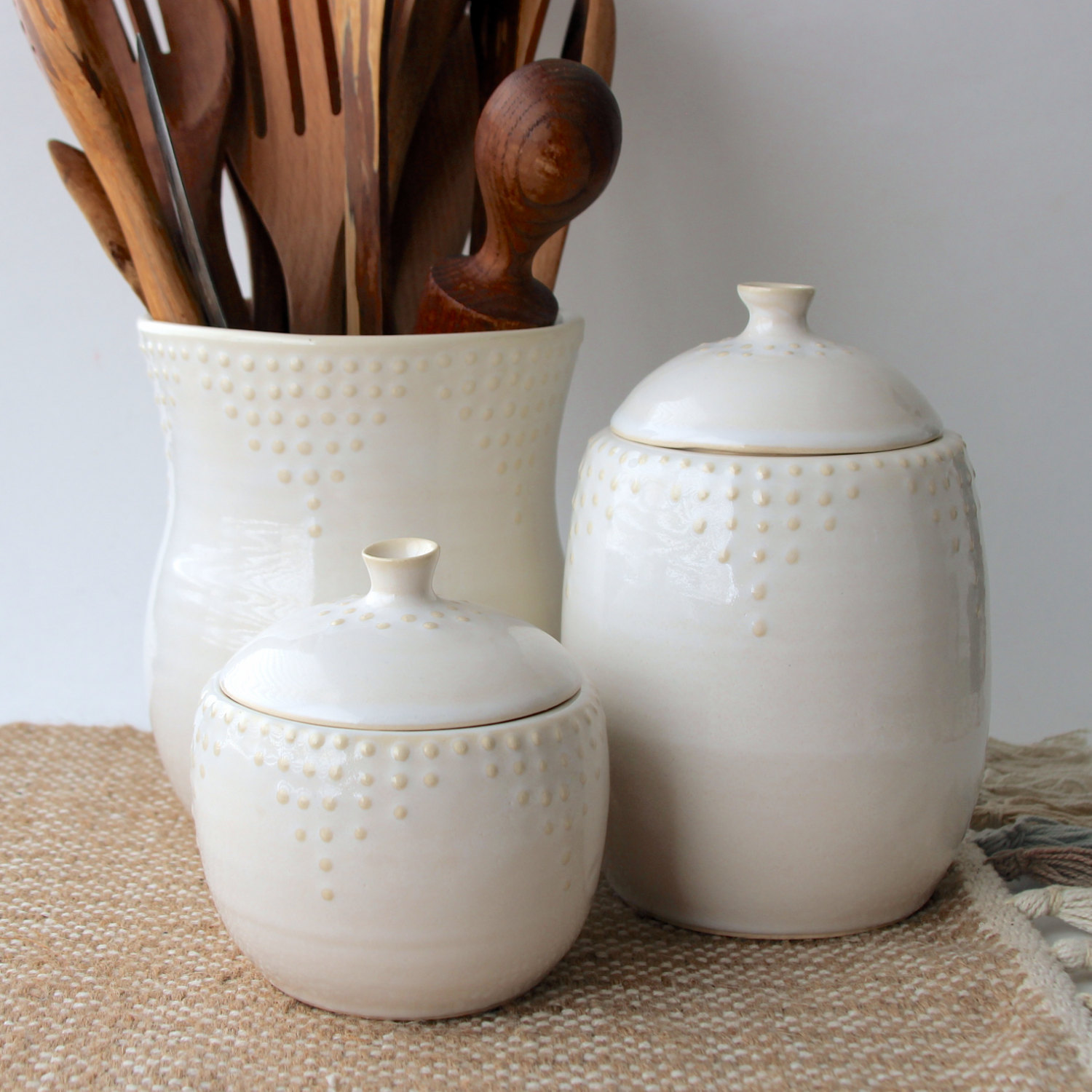 Lidded Jars in Creamy White