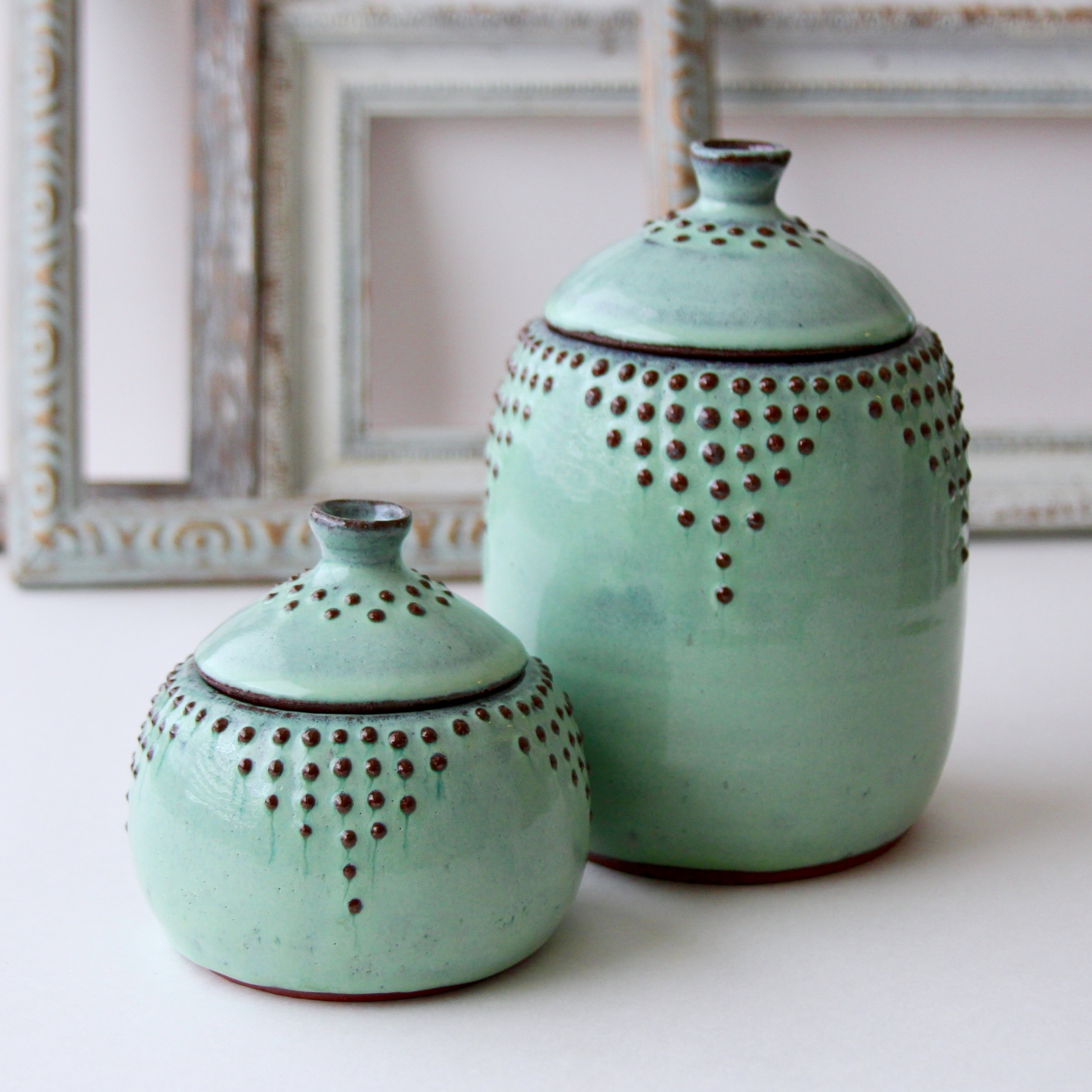 Lidded Jars in Aqua Mist
