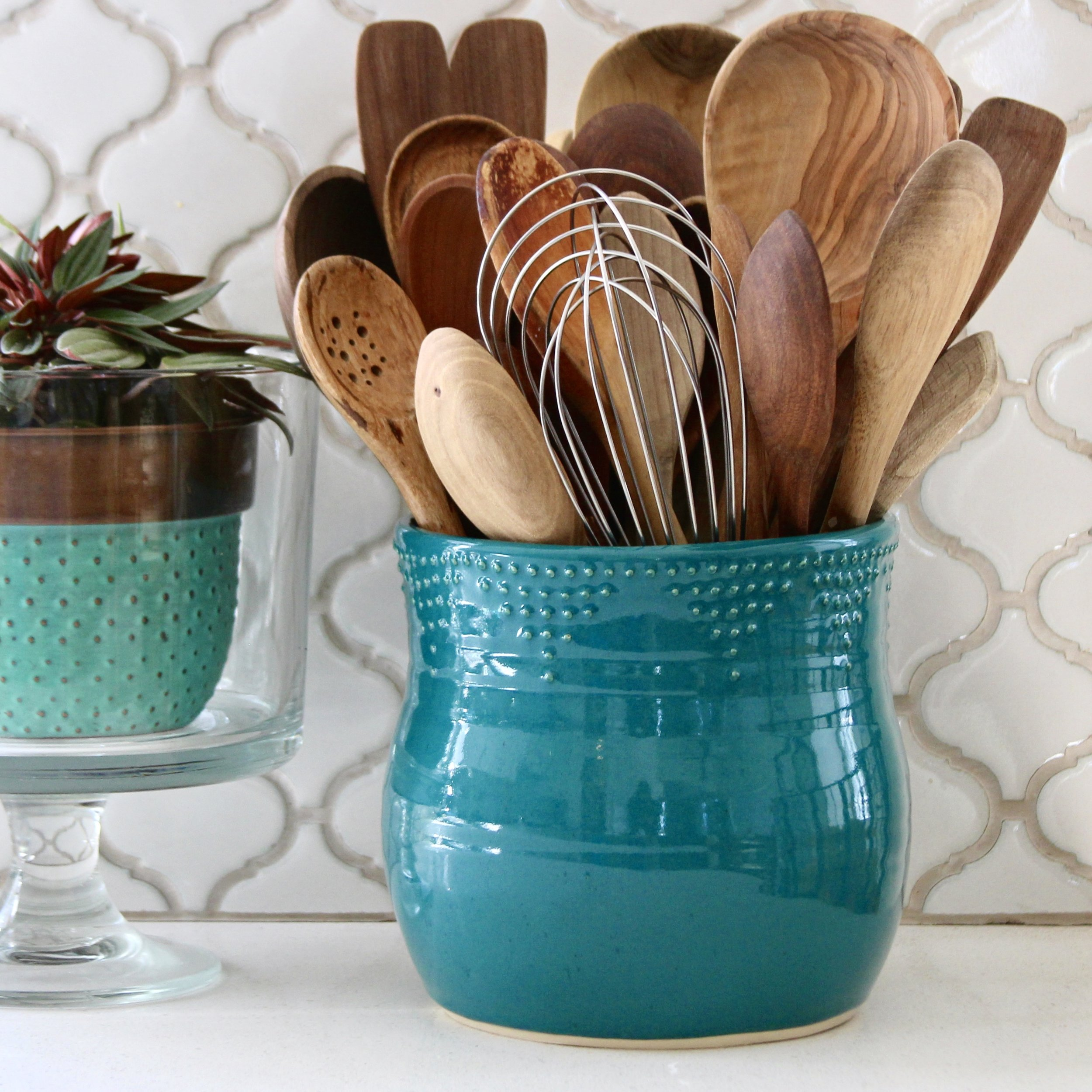 Extra Large Utensil Holder in Dark Teal