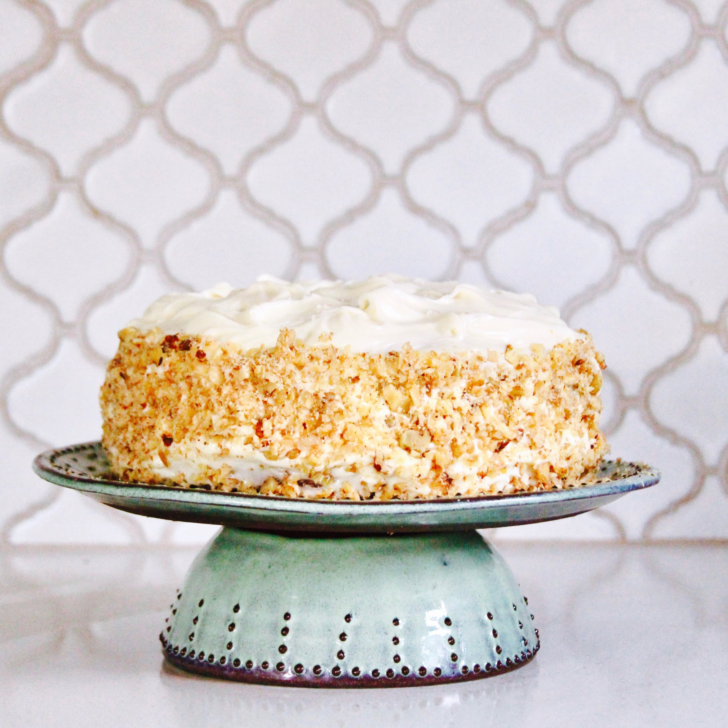 Amazing Carrot Cake looks great on a  dinner plate  on top of a soup bowl…