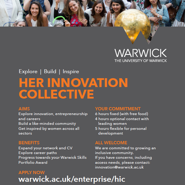 We have recruited our next group of speakers for the 2nd cohort of  Her Innovation Collective , the entrepreneurship programme sponsored by Warwick, Santander and NOI! If you are a woman innovator in digital or social enterprise,  email us  and be part of an inspiring journey! We are looking for speakers for HIC 3 in spring 2020!