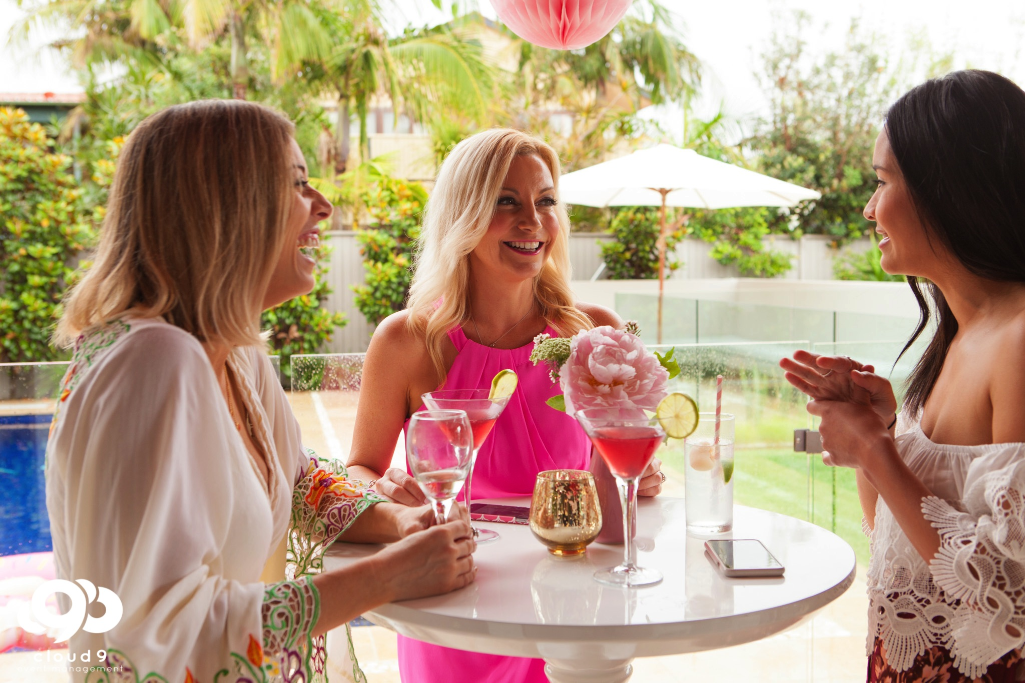 Sipping cocktails Miami beach style party