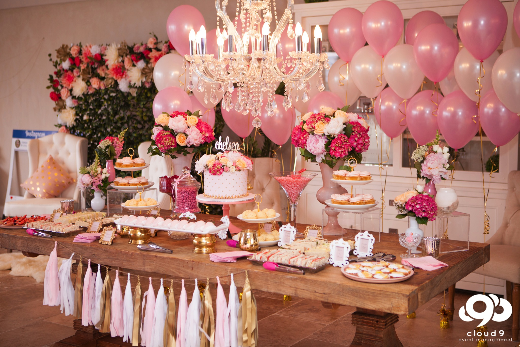 Food Table Styling Candy Bar, Afternoon Tea and Balloons
