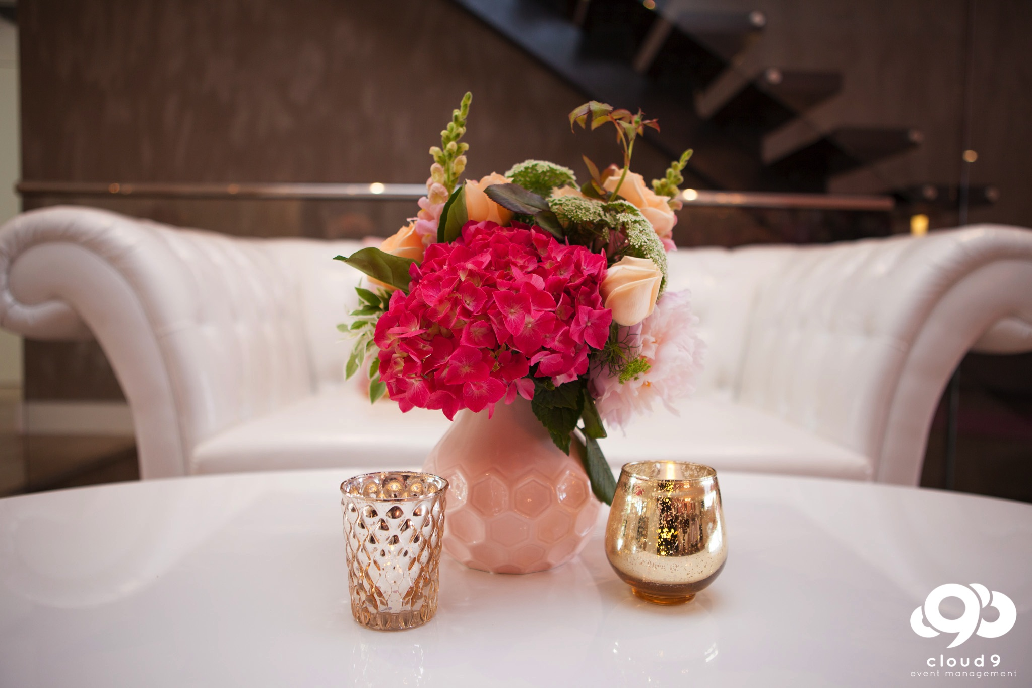 Luxe furniture with gold votive