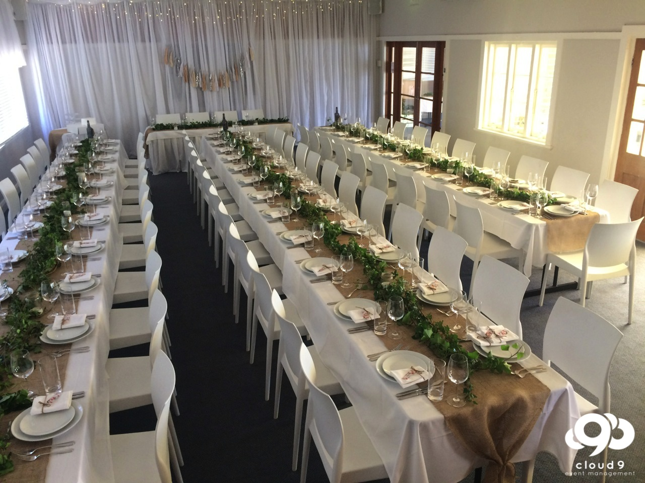Formal Wedding : long tables in main hall at Manly Yacht Club