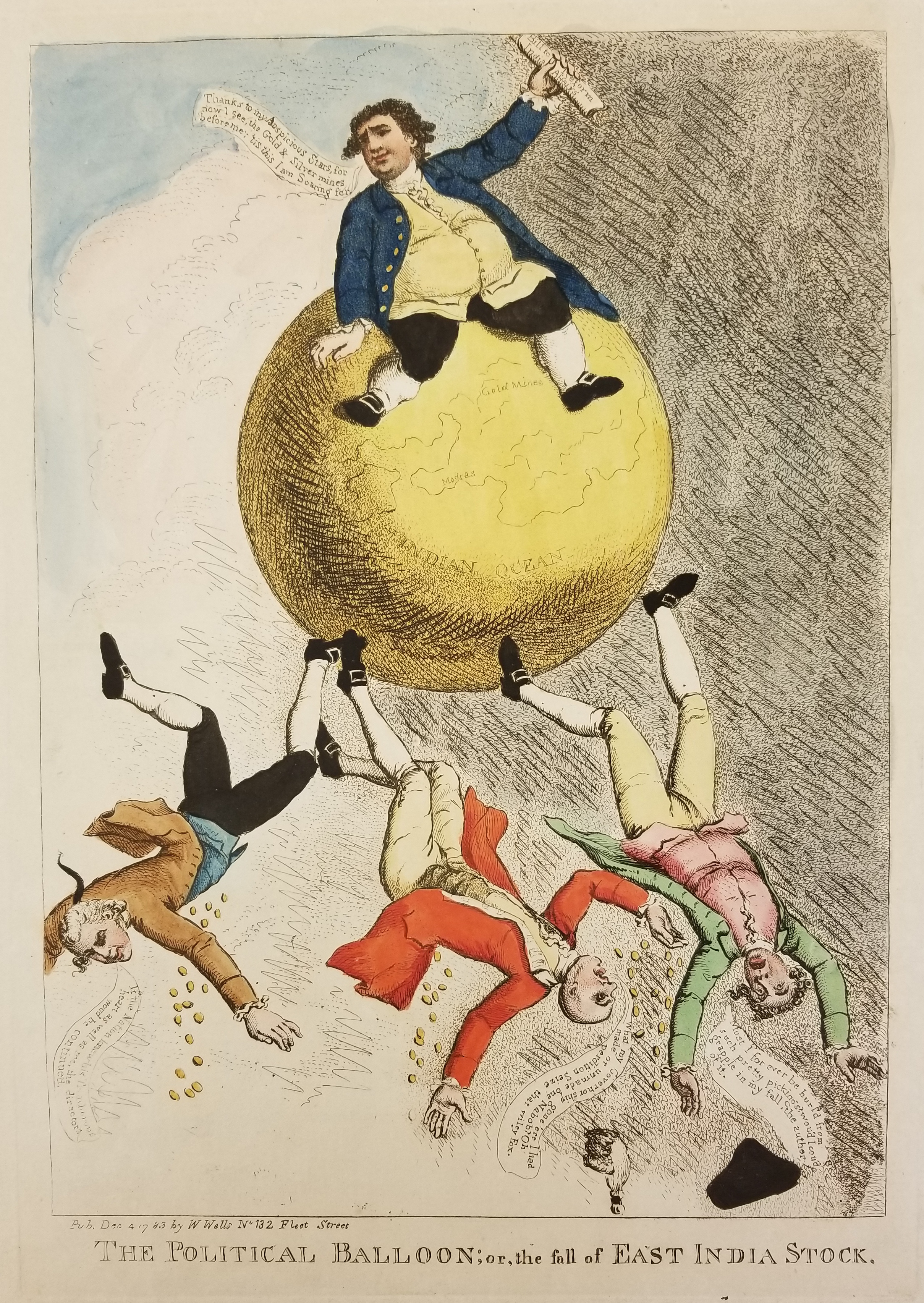 """Anonymous, """"The Political Balloon; or, The Fall of the East India Stock,"""" 4 December 1783 (Huntington Library)."""