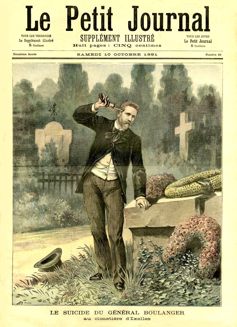 Imagem idealizada do suicídio de Boulanger.   Petit Journal , 10 de outubro 1891 (Wikimedia Commons).