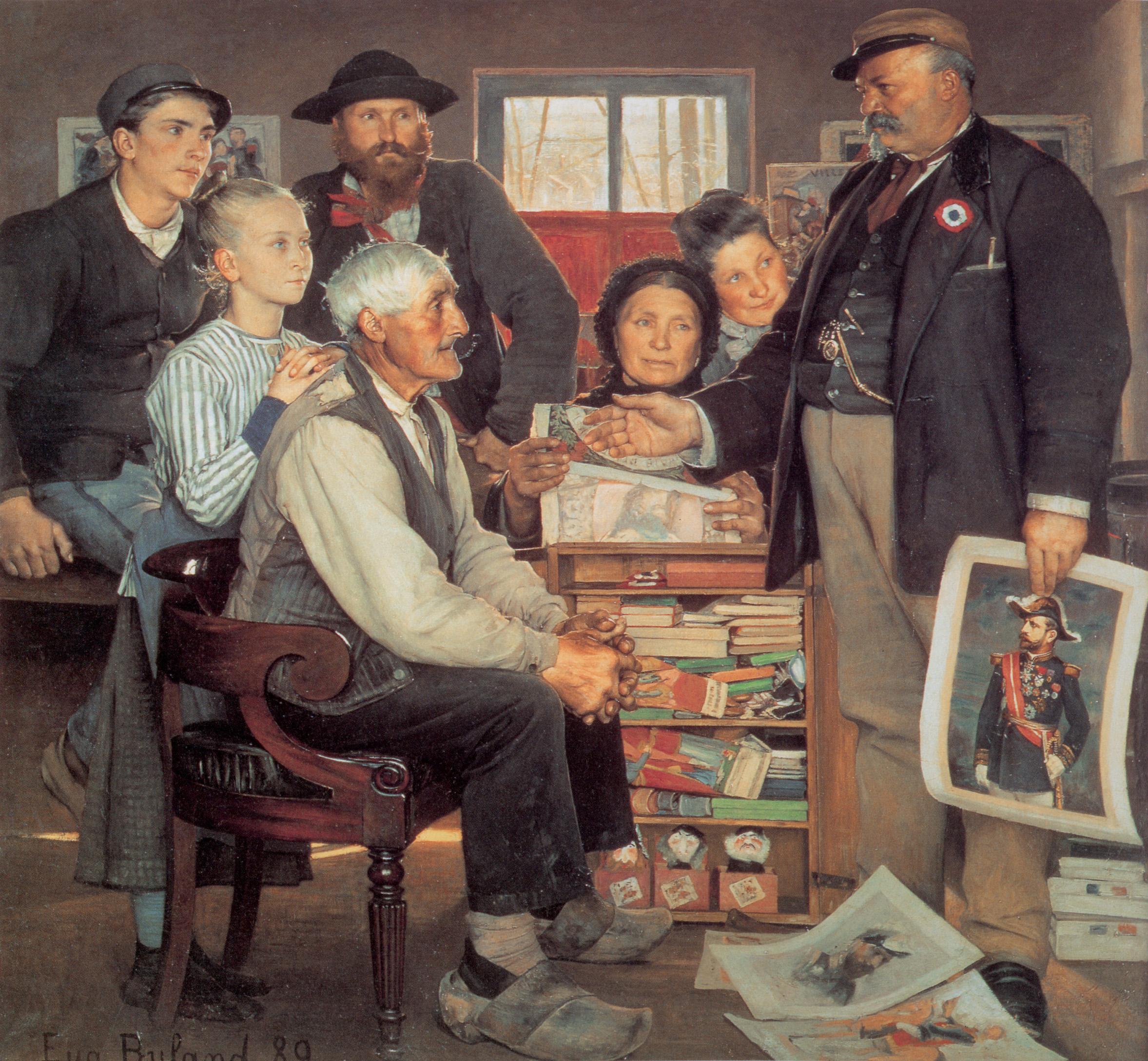 Pintura ilustrando um agente Boulangista fazendo propaganda para o General. Métodos de impressão mais baratos fizeram dessa a primeira campanha democrática iconográfica.  Jean-Eugène Buland, Propagande, 1889 (Musée d'Orsay).