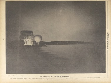 The departure of La Vaulx and Castillon de Saint-Victor's balloon from its hangar in the Isthme des Sablettes, near Toulon, during their first attempt to cross the Mediterranean.    La Vie au Grand Air , 20 October 1901, 615 (Gallica, BNF).