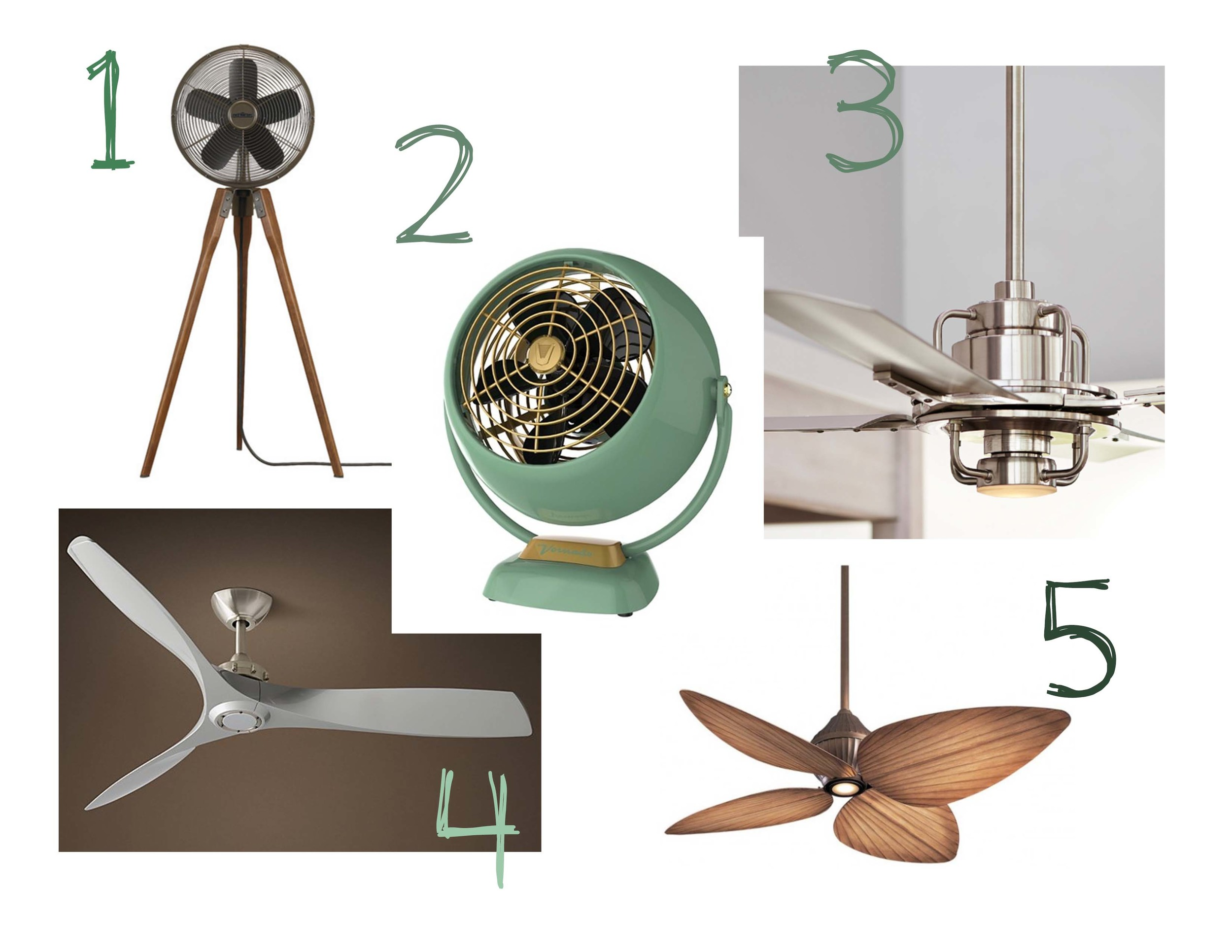 1. http://www.wayfair.com/Fanimation-Arden-Pedestal-Fan-KW3134.html  2. http://www.amazon.com/Vornado-VFAN-Vintage-Circulator-Green/dp/B00TX79BK6?ie=UTF8&keywords=retro%20fan&qid=1465322798&ref_=sr_1_2&sr=8-2  3. http://www.rejuvenation.com/catalog/collections/peregrine-industrial-LED-ceiling-fans  4. https://www.restorationhardware.com/catalog/product/product.jsp?productId=prod6430139&categoryId=cat3860005  5. http://www.houzz.com/photos/114529/Minka-Aire-Gauguin-Ceiling-Fan-tropical-ceiling-fans
