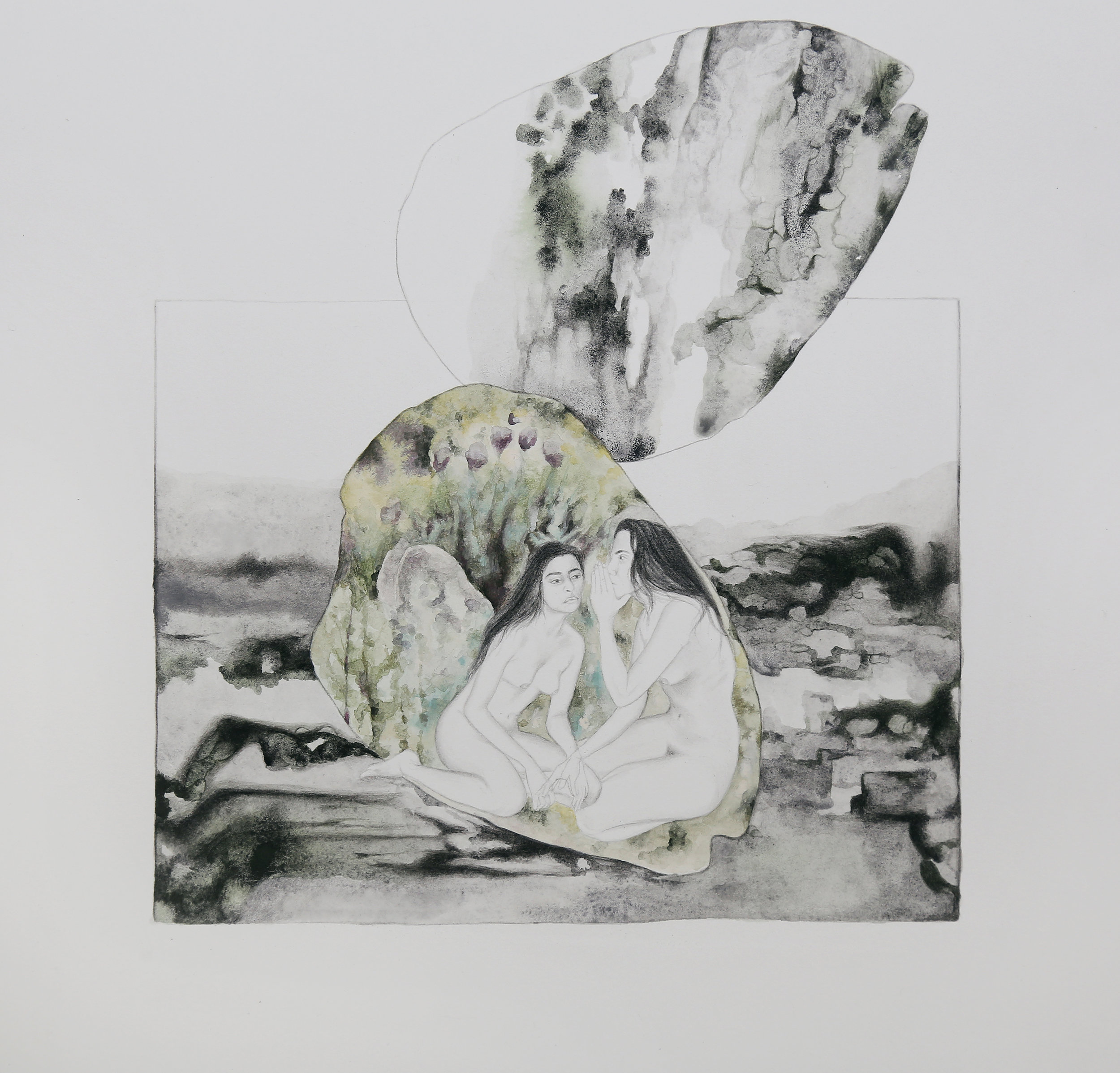 A Precarious Conversation   Gouache on paper  28 x 26 cm  2017