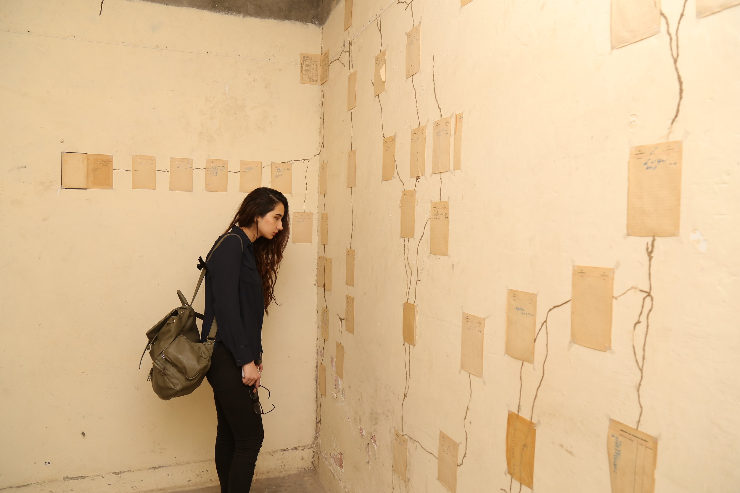Nisha Hasan  'Elegy for the Leaves'   8 X 10 square feet room, pages from a found diary, termite mud tunnels, surgical tape  Dimensions variable  2017
