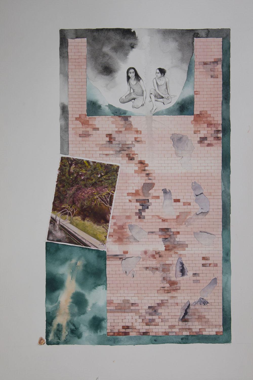 A Precarious Conversation II   30 x 47 cm  Watercolour and gouache on paper  2018