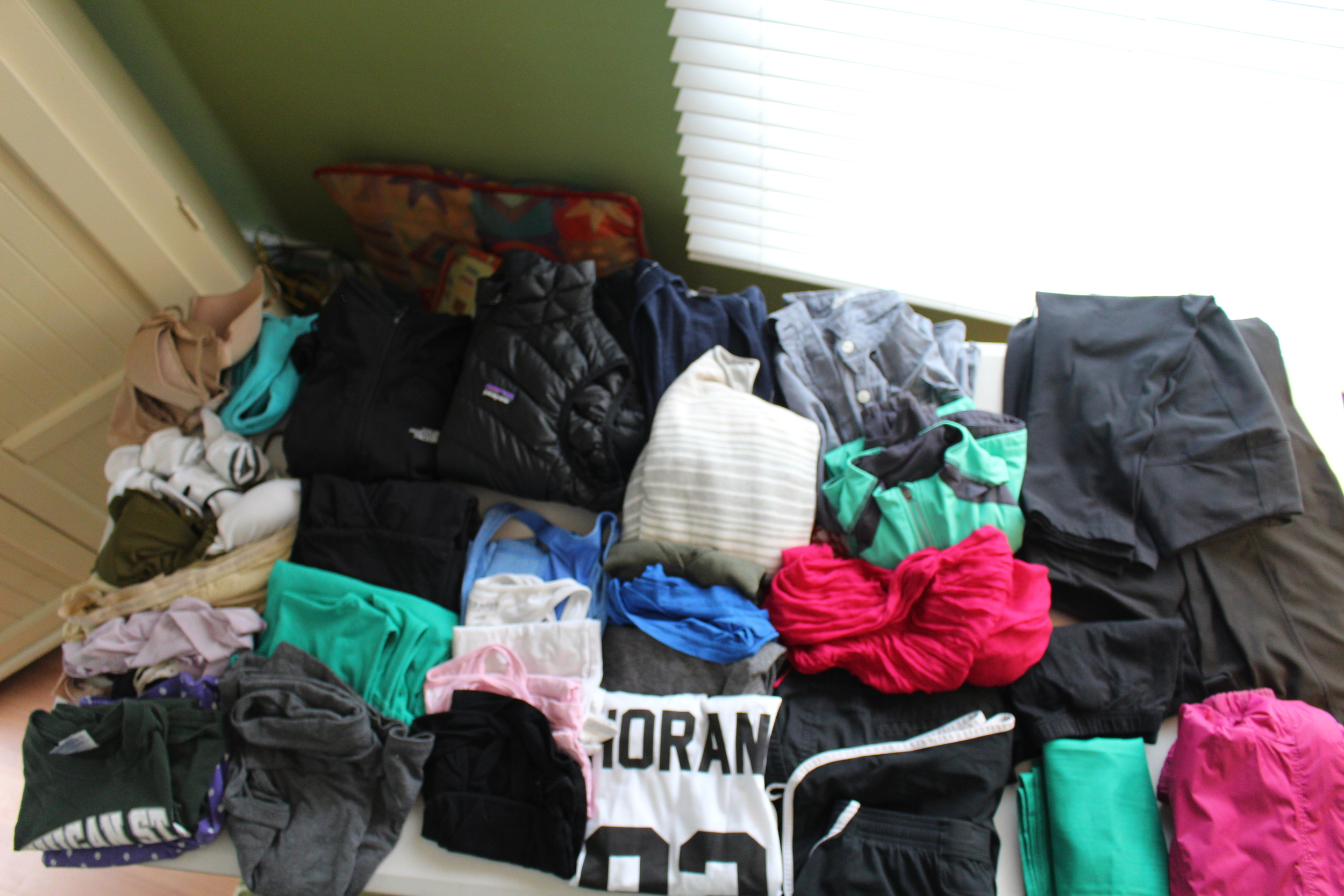 """Necessities:               Dresses/Skirts:                   Tops:                            Bottoms:  7 Pairs of Underwear        Black 3/4 Sleeve Patagonia Dress    4 Tanks: Blue, White, Pink, Black      Black JCrew Shorts 3 Bras                    Green Kavu """"Eve"""" Dress            3 V-necks: Green, Blue, Grey         Black Under Armour Shorts 4 Pairs of Socks           Grey Old Navy Knee Length Skirt    MSU t-shirt (PJs)                    Black Nike Cropped Leggings 1 Bathing Suit                                              One Direction Shirt!                Black Nike Cropped Pants Boxer Shorts (PJs)                                          Black Long Sleeve North Face 1/4 Zip  Black Eddie Bauer Active Pants                                                          NavyLong Sleeve Cardigan         Black Eddie Bauer Active Leggings                                                          Striped Eddie Bauer Sweater         Black Old Navy Leggings                                                        Denim Shirt    Outerwear:                            Accessories:             Shoes: (not pictured)            Toiletries:  Pink North Face Raincoat               MSU Flag               Black Nike Frees                Shampoo/Conditioner/Body Wash Green/Grey LLBean Running Jacket      Pink Scarf               Grey/Black Merrell Sandals        Toothpaste/Toothbrush/Mouthwash Black Patagonia Down Vest             Pepper Spray           Cheap Black Flats               Deodorant                                     Knife                                                 Quick Dry Towel/Wash Cloth                                    Metal Spork                                     Umbrella                                     Selfie Stick (it was a gift!)                                     Detergent/Clothes Line                                     Power Strip"""