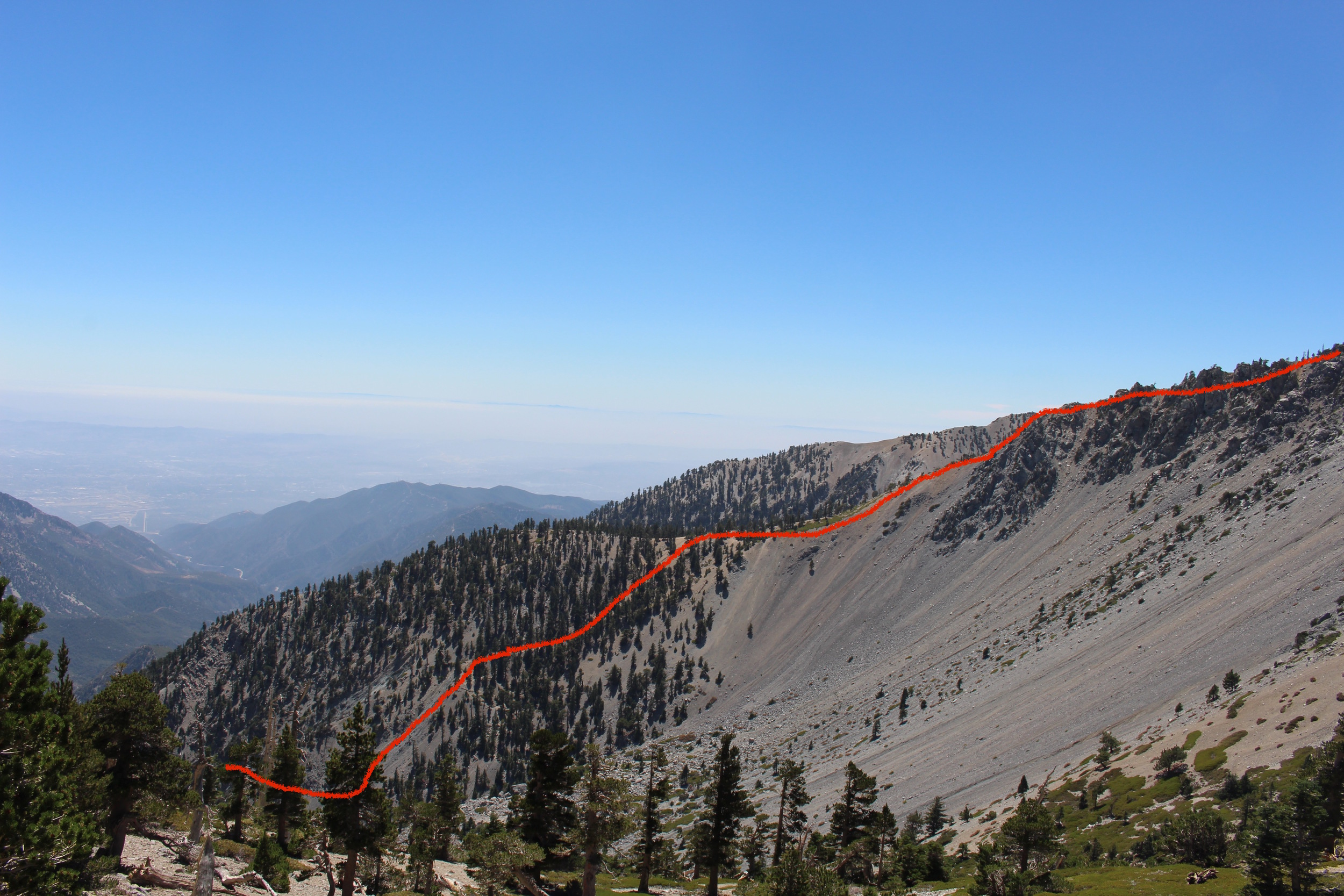 Part of the hike up to the top of Mt. Baldy.