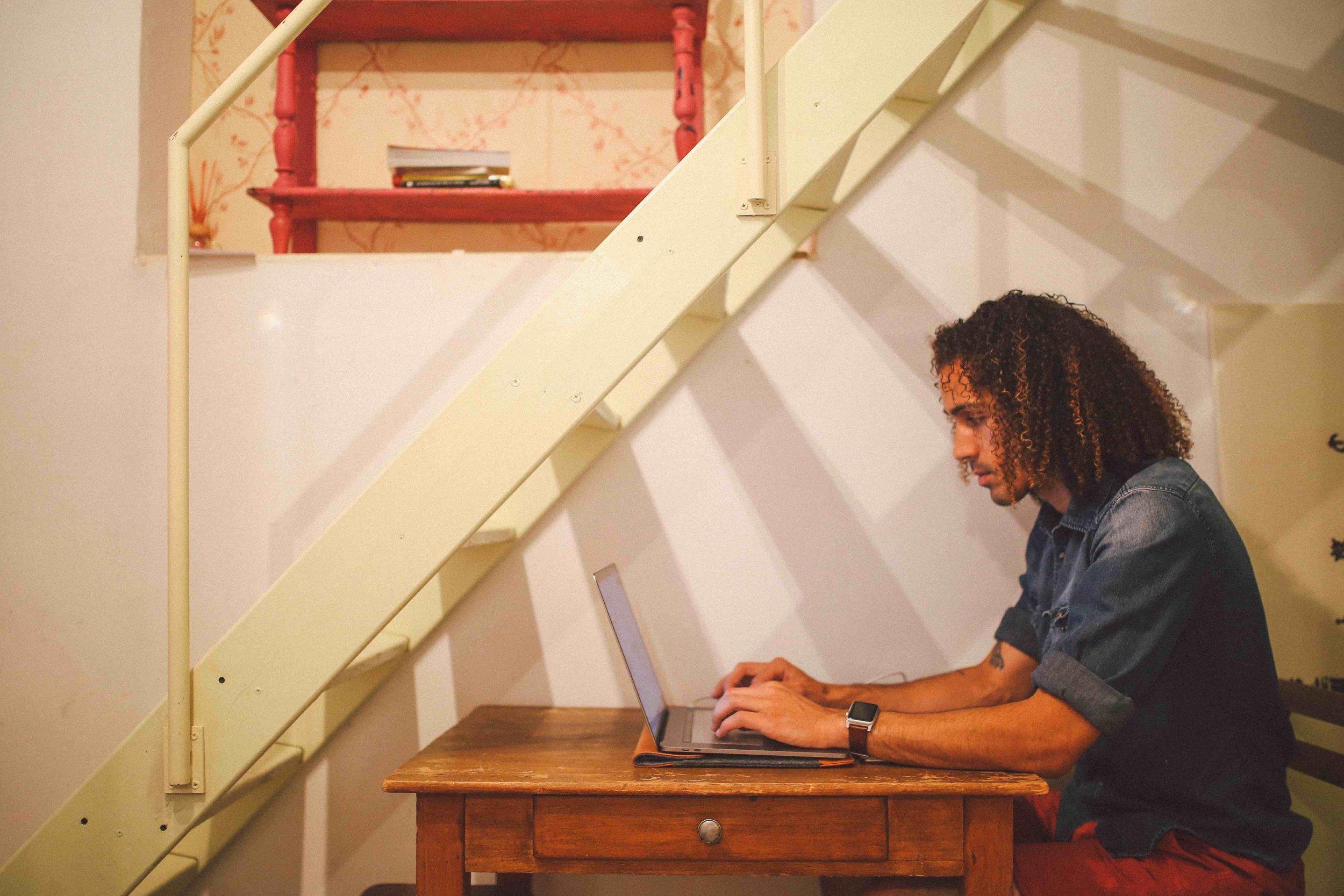 Digital Nomad on laptop