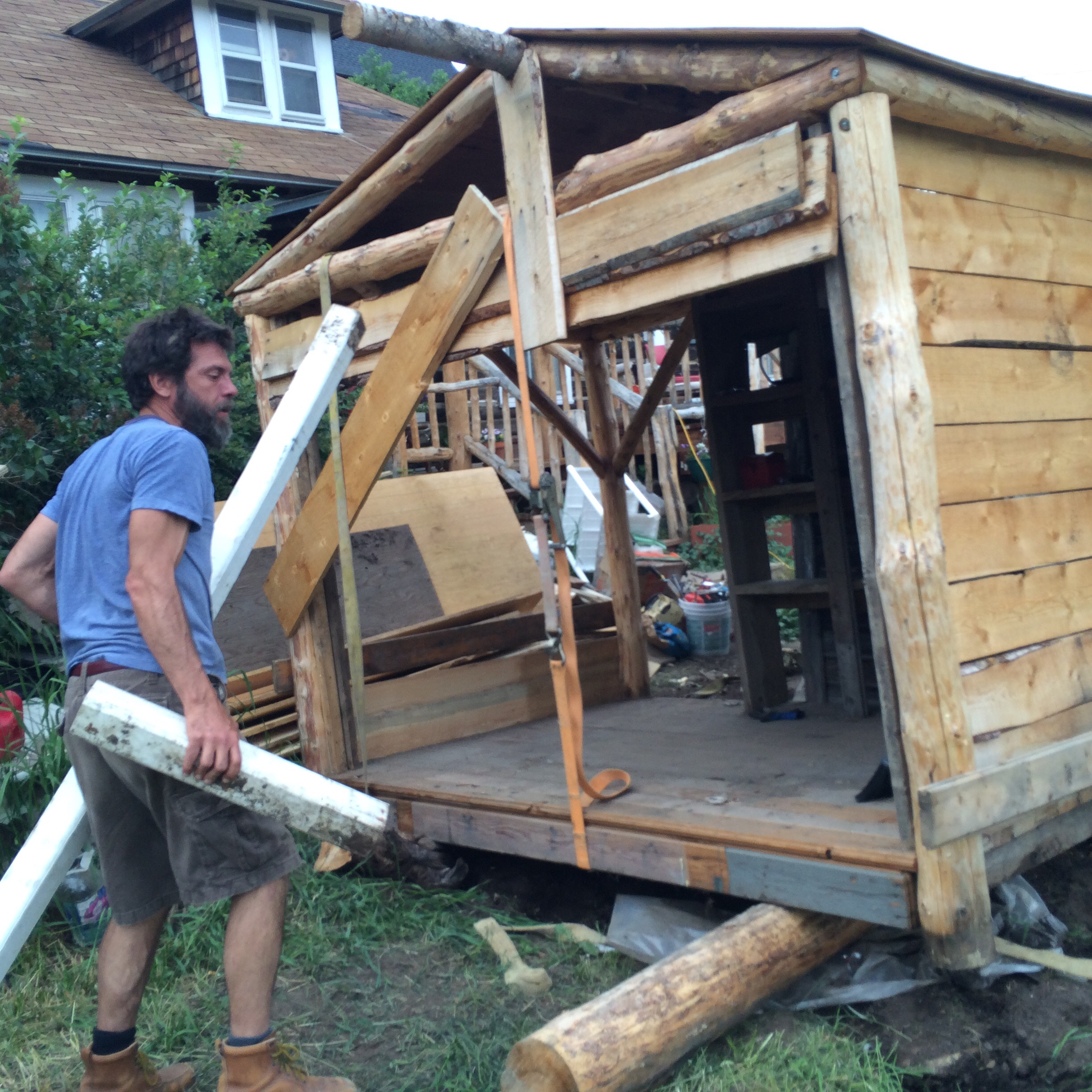 Here's a low tech way to move a shed.