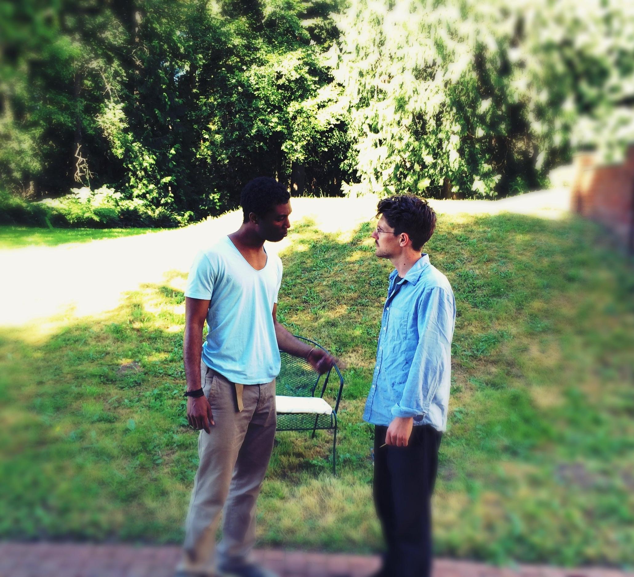 Jude Sandy (left) and Max Rosenak (right) in rehearsal for  Blues for Mister Charlie