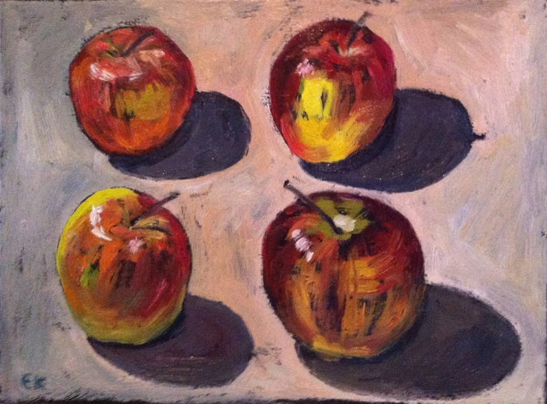 Four apples with shadows