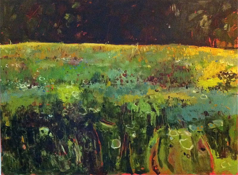 Tuscan Floral Meadow with Dark Hedge II