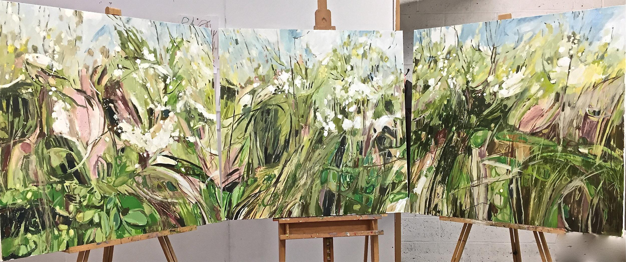 Blackthorn Hedgerow Gunthorpe, complete triptych