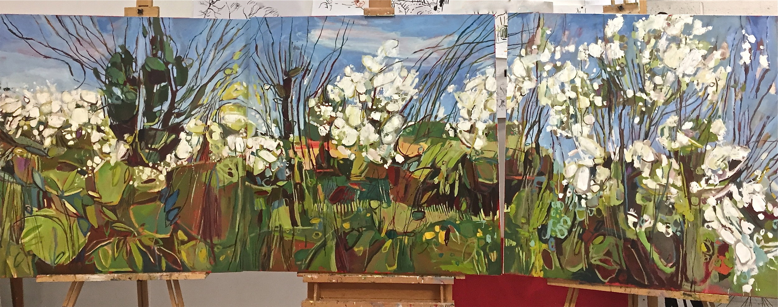 April Hedgerow, Burford, full triptych