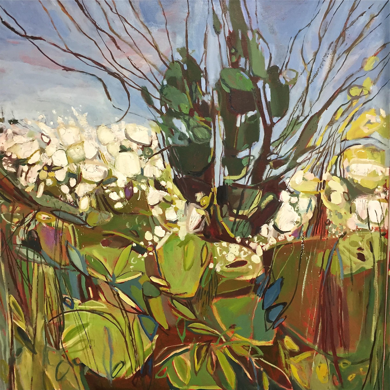Triptych April Hedgerow, Burford, left panel