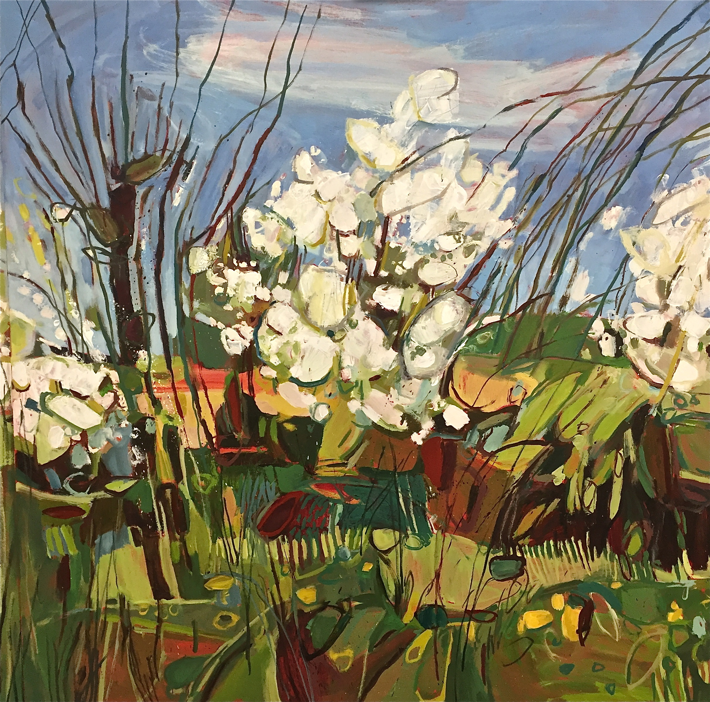 Triptych April Hedgerow, Burford, central panel