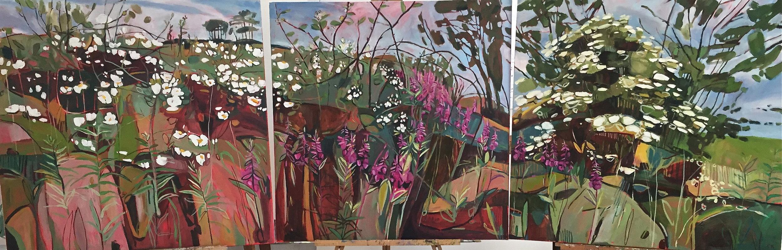 Midsummer Triptych , Eglantine, Bramble, Rose Bay Willow Herb ad Elder