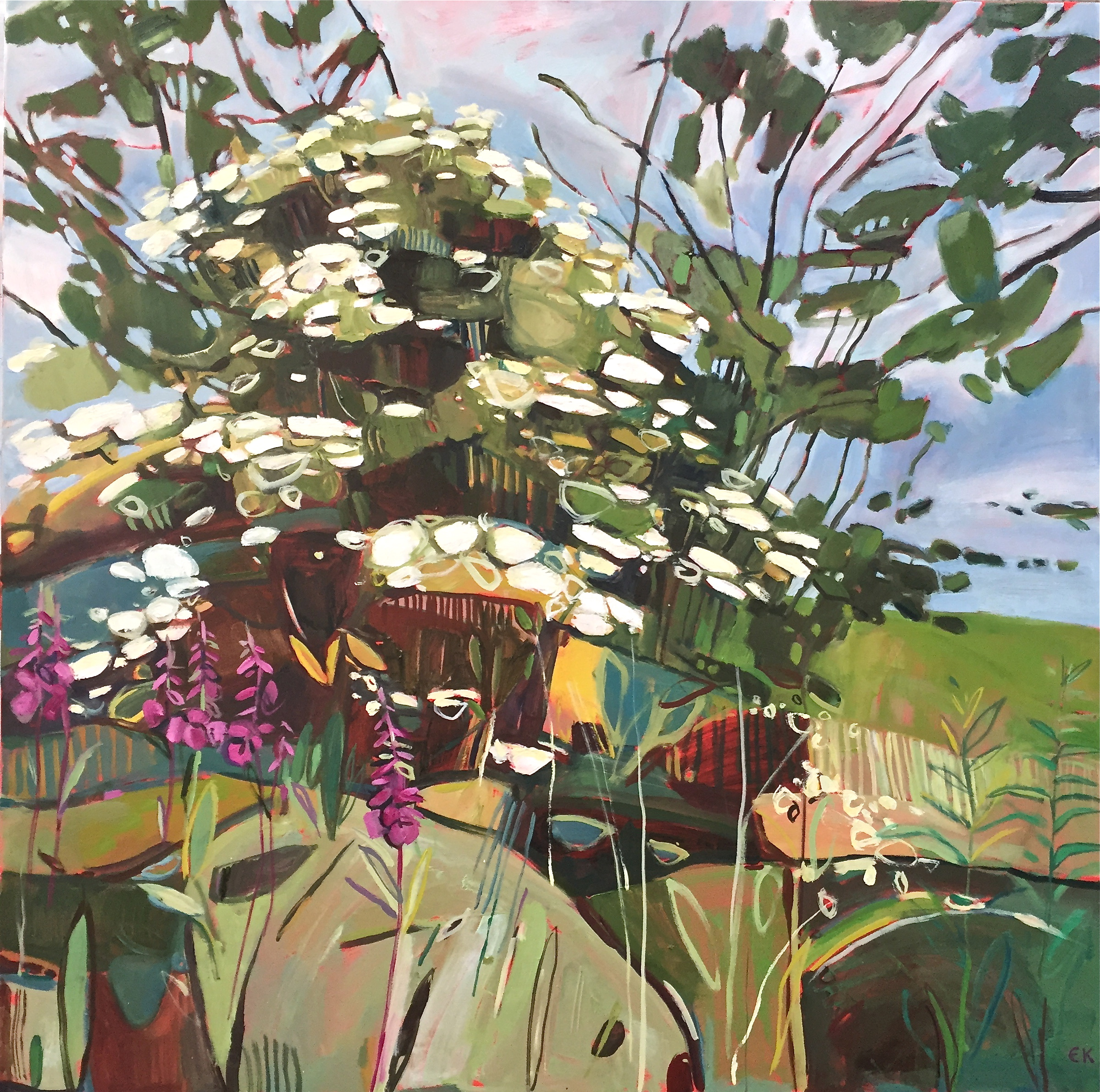 Midsummer Triptych - right panel, Rose Bay Willow Herb and Elder
