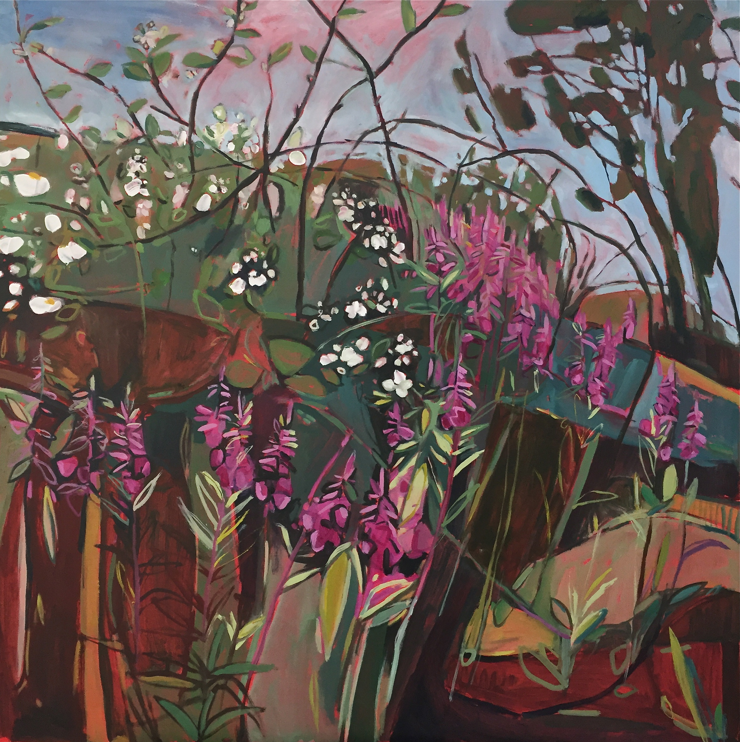 Midsummer Triptych - central panel, Eglantine, Bramble and Rose Bay Willow Herb