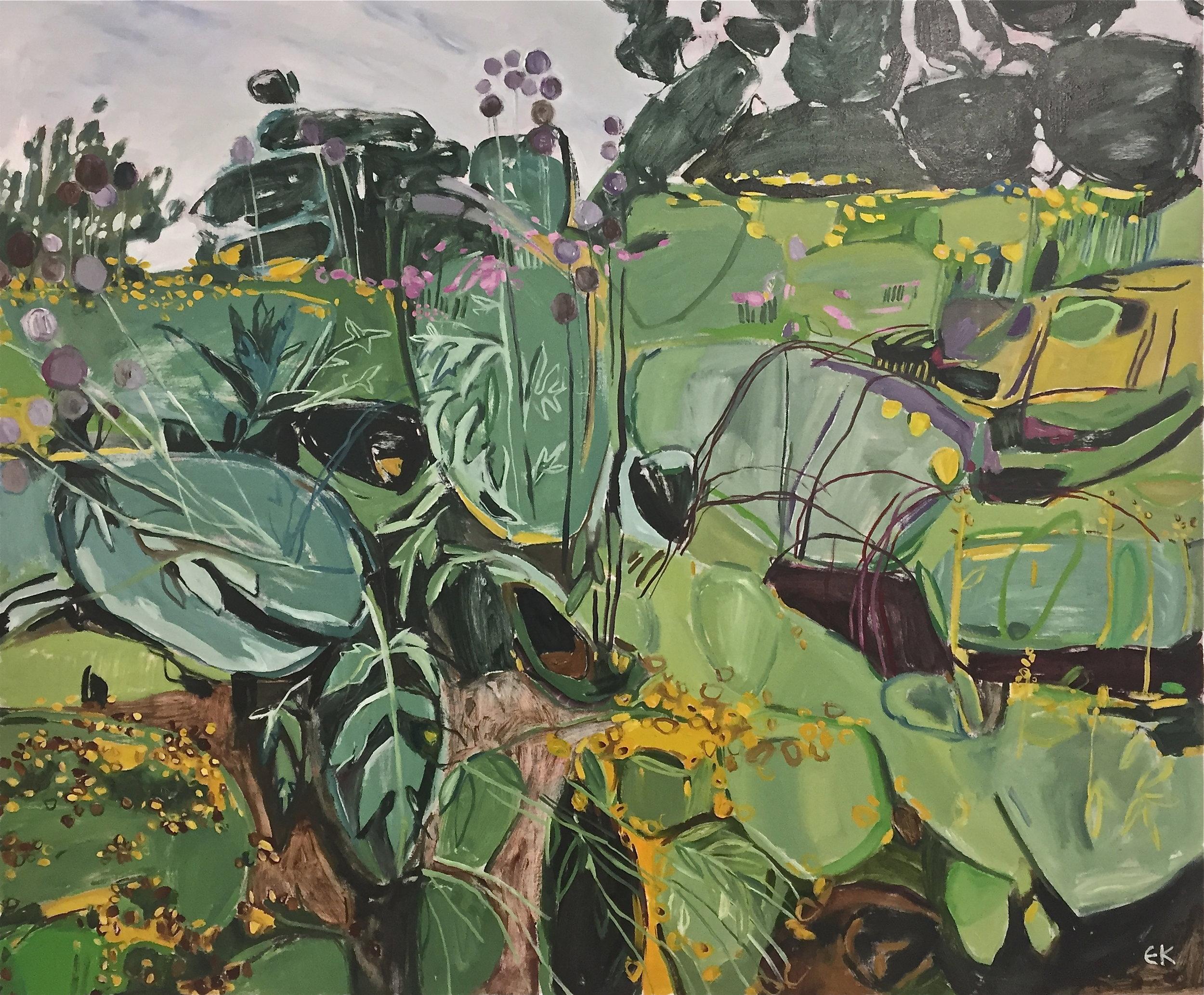 Oxford Botanic Gardens, Echinops, Coreopsis and Solidago
