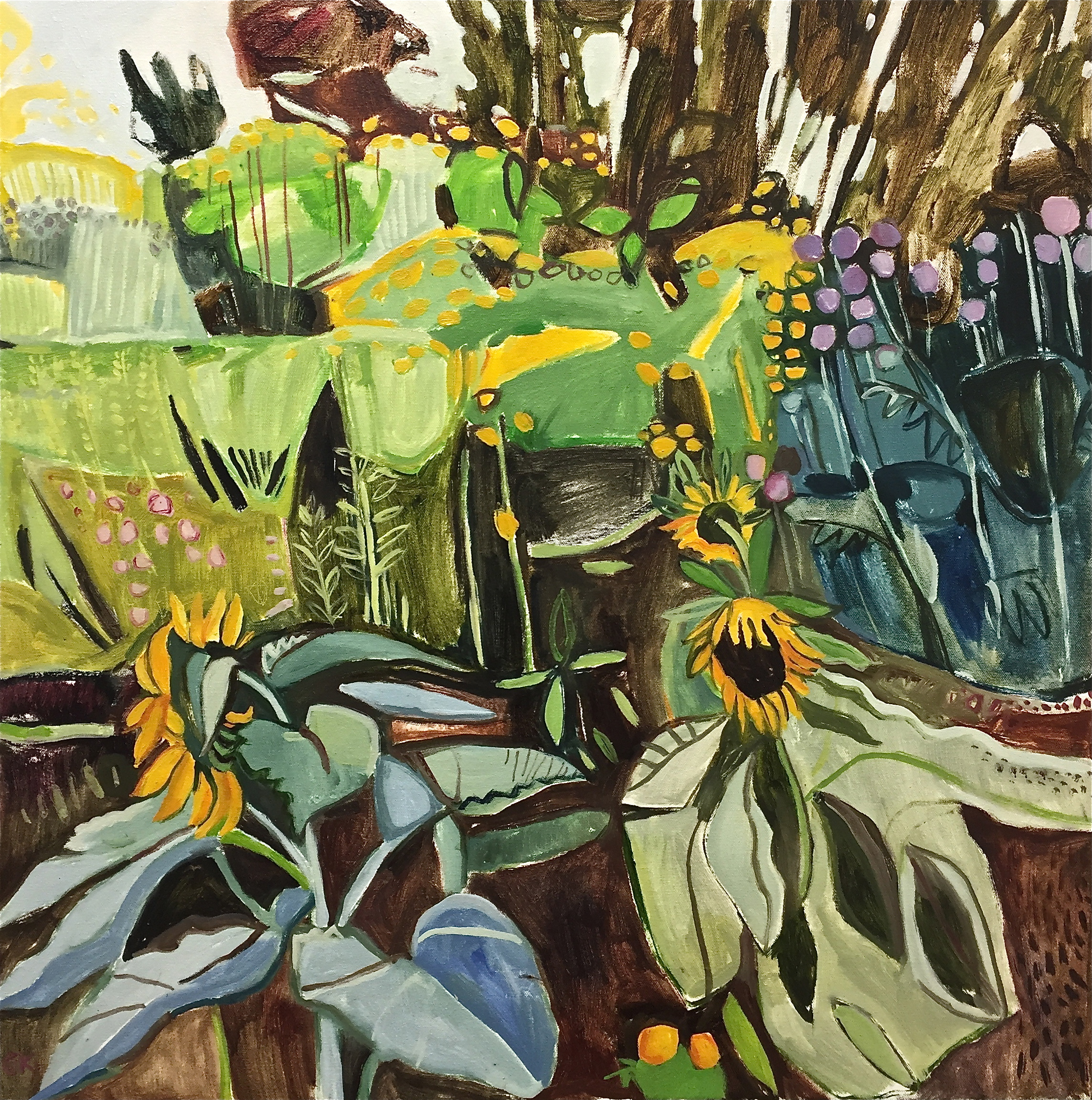 Sunflowers and Echinops 2 Oxford Botanic Gardens