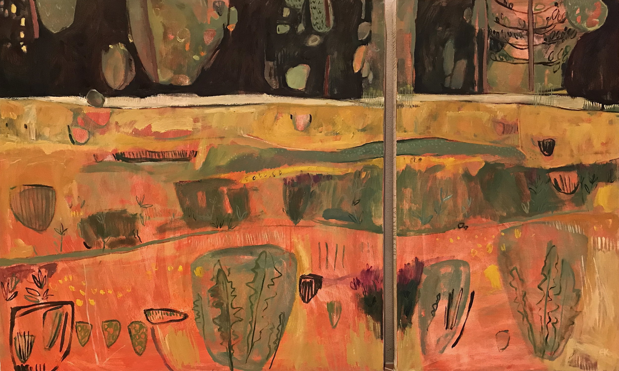 Asymmetric Diptych, Colours of Tuscany: After the Hay Harvest, July