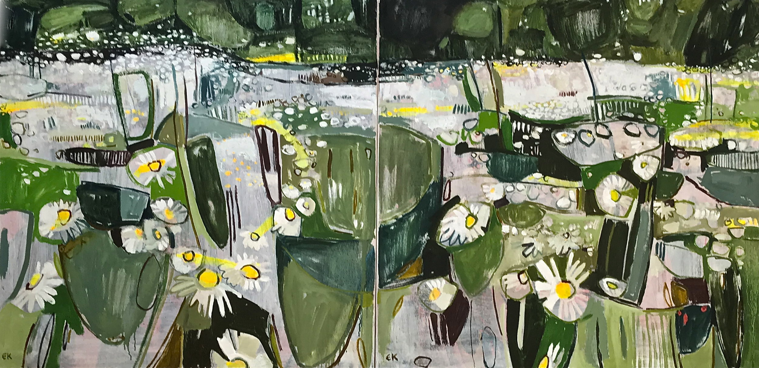 Diptych: A Good Year for Penny Daisies, available individually