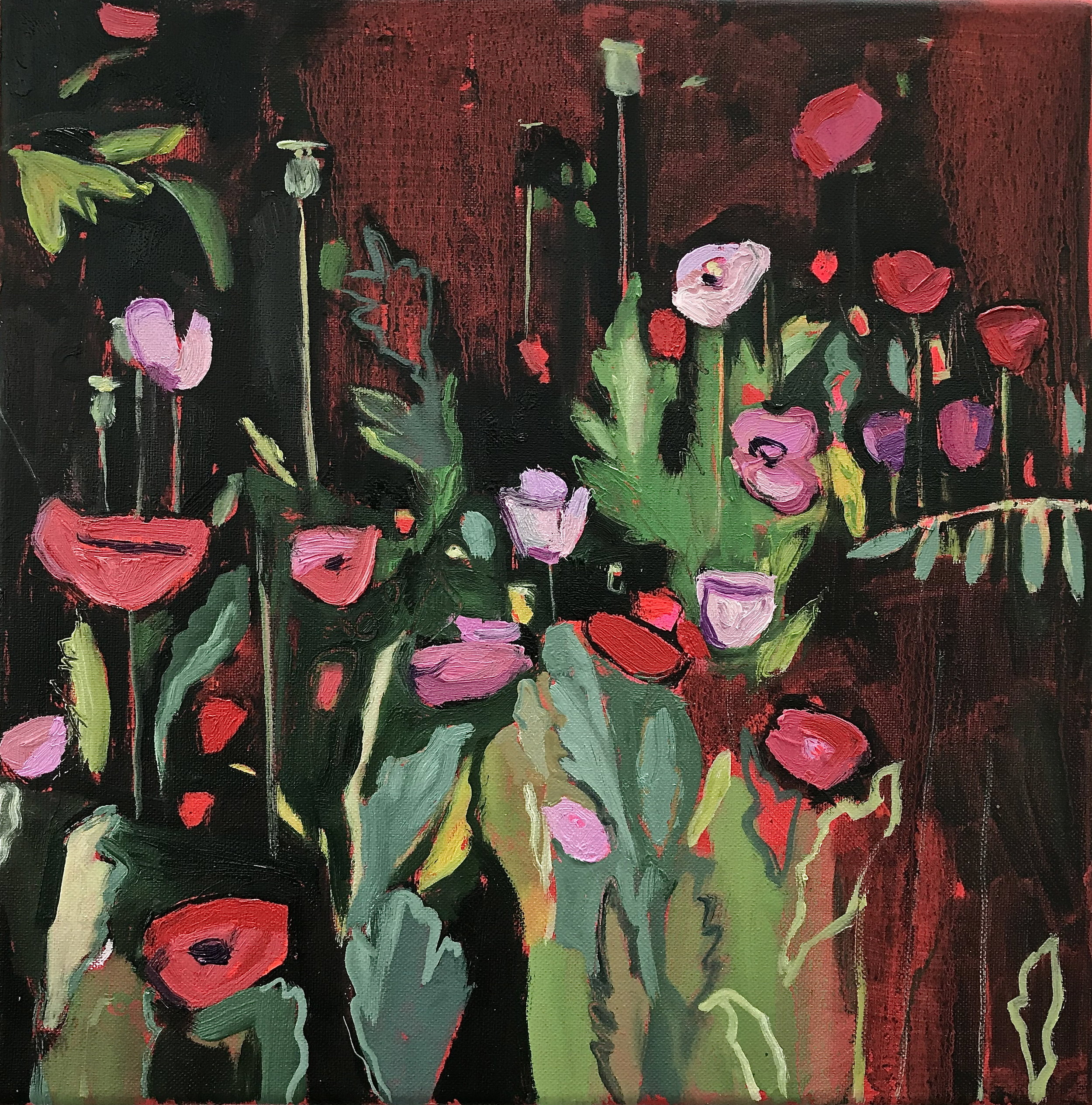 Diptych: Opium Poppies in the Oxford Botanic Gardens - right panel