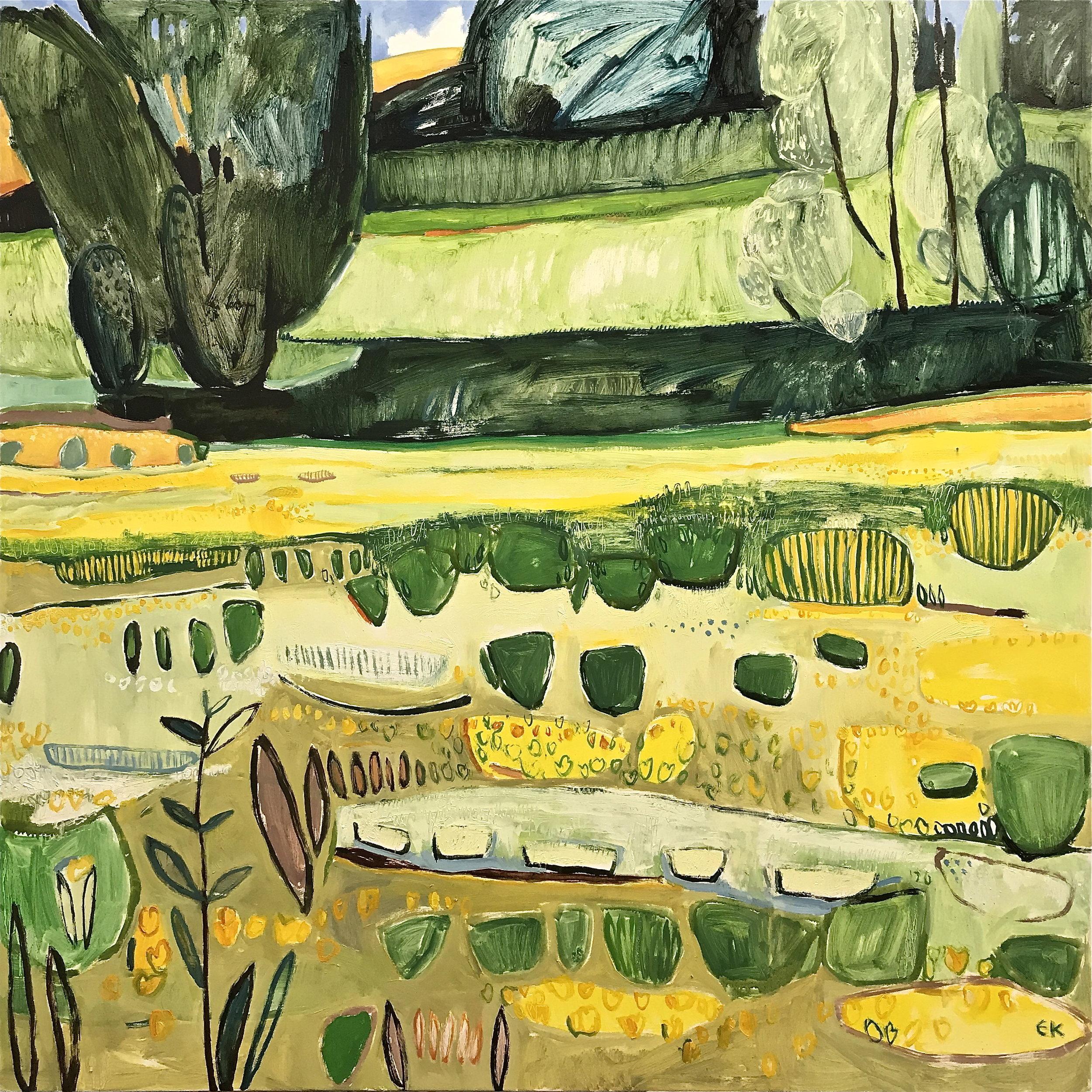 Tuscany Hillside - Meadow of Yellow Trefoil