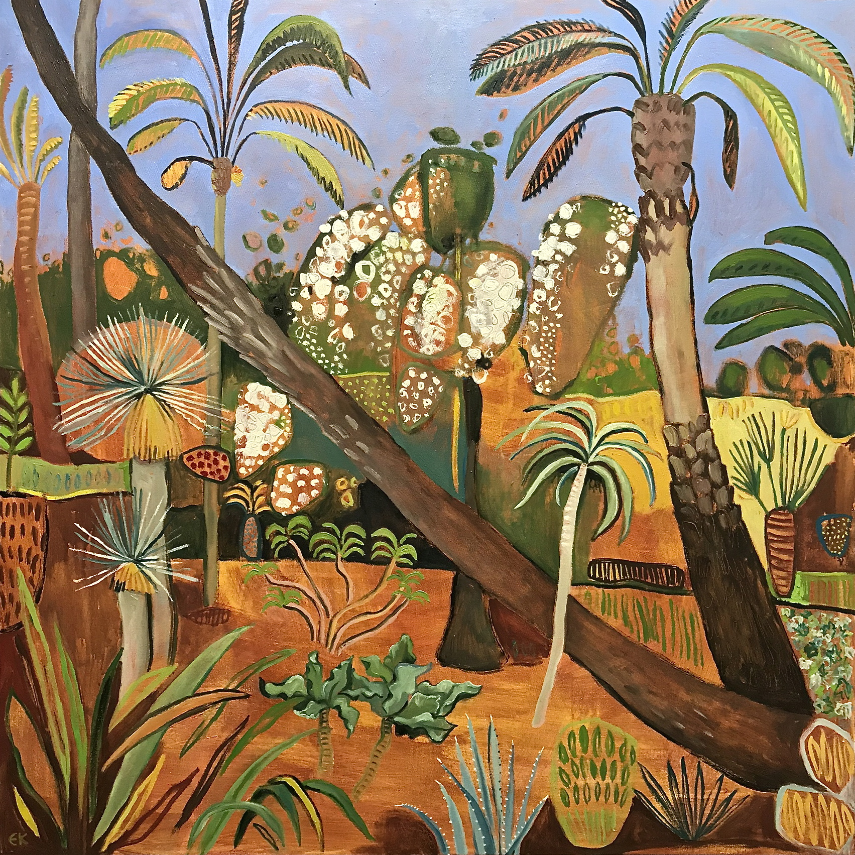 Marjorelle Gardens with Leaning Palms