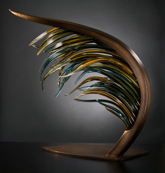 LAMINARIA Glass cane and metal  38 x 36 x 20""