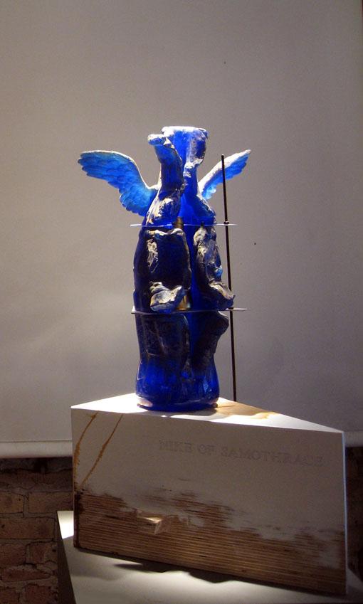 "NIKE OF SAMOTHRACE #8 Cast glass, mixed media  26 x 14 x 22"""